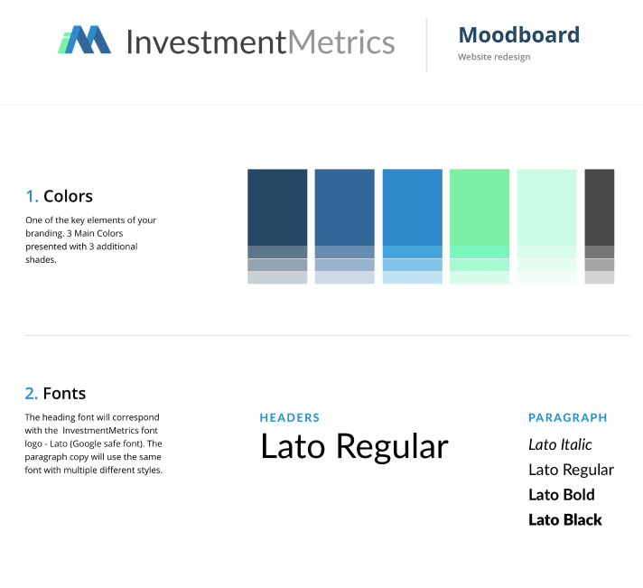 investment metrics moodboards