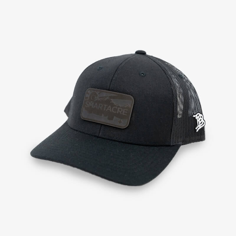 Black Curved Trucker Hat with Black Leather
