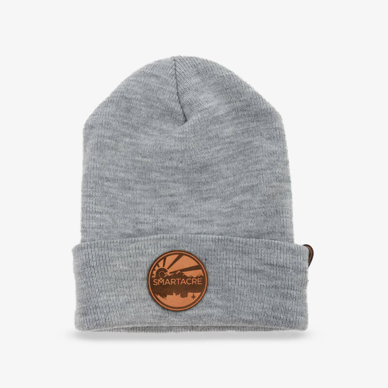 Winter Heather Gray Beanie Brown Leather